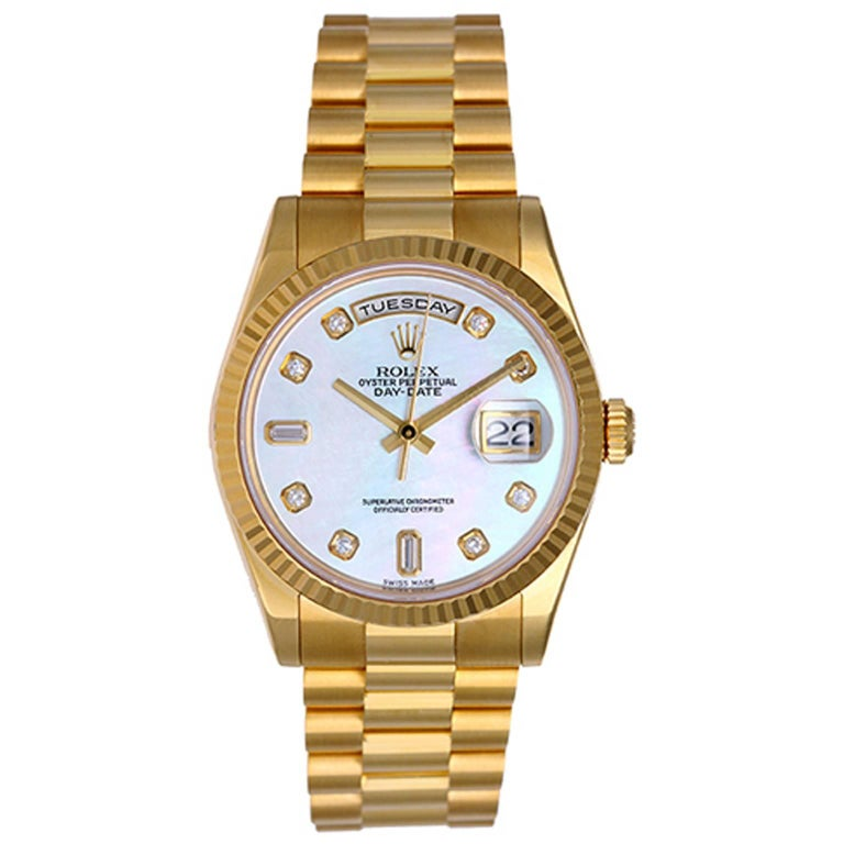 Rolex yellow gold President Day-Date automatic Wristwatch ref 118238