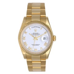 Rolex yellow Gold President White Roman Dial Day-Date Wristwatch ref 118238