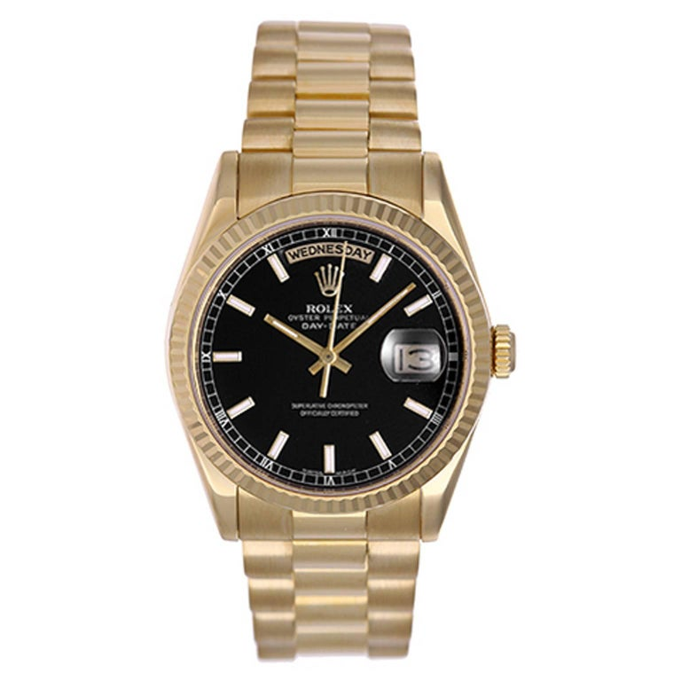 Rolex yellow gold President Black Dial Day-Date chronometer Wristwatch