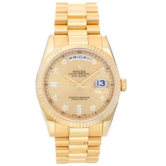 Rolex yellow gold Diamond President Day-Date Wristwatch Ref 118238