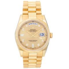 Rolex yellow gold Diamond President Day-Date Wristwatch Ref 118238