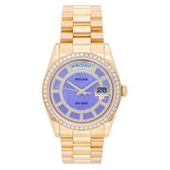 Rolex yellow gold President Day-Date Factory Lilac Stone Diamond Dial Wristwatch