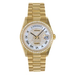 Rolex yellow gold President Day-Date Mother-of-Pearl Pave Roman Wristwatch