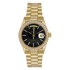 Rolex Yellow Gold President Day-Date Black Tapestry Dial Automatic Wristwatch