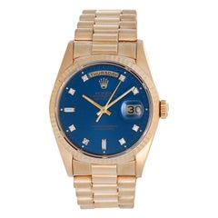 Rolex Yellow Gold President Day-Date Custom Blue Dial Automatic Wristwatch