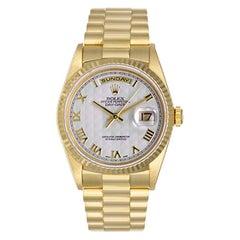 Rolex Yellow Gold President Cream Pyramid Dial Day-Date Wristwatch Ref 18238