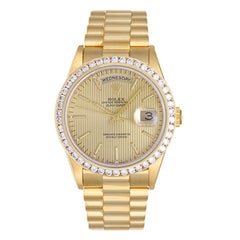 Rolex yellow gold President Day-Date Champagne tapestry Dial Automatic Wristwatc