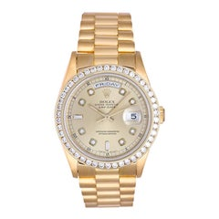 Rolex Yellow Gold Diamond President Day-Date Automatic Wristwatch Ref 18238