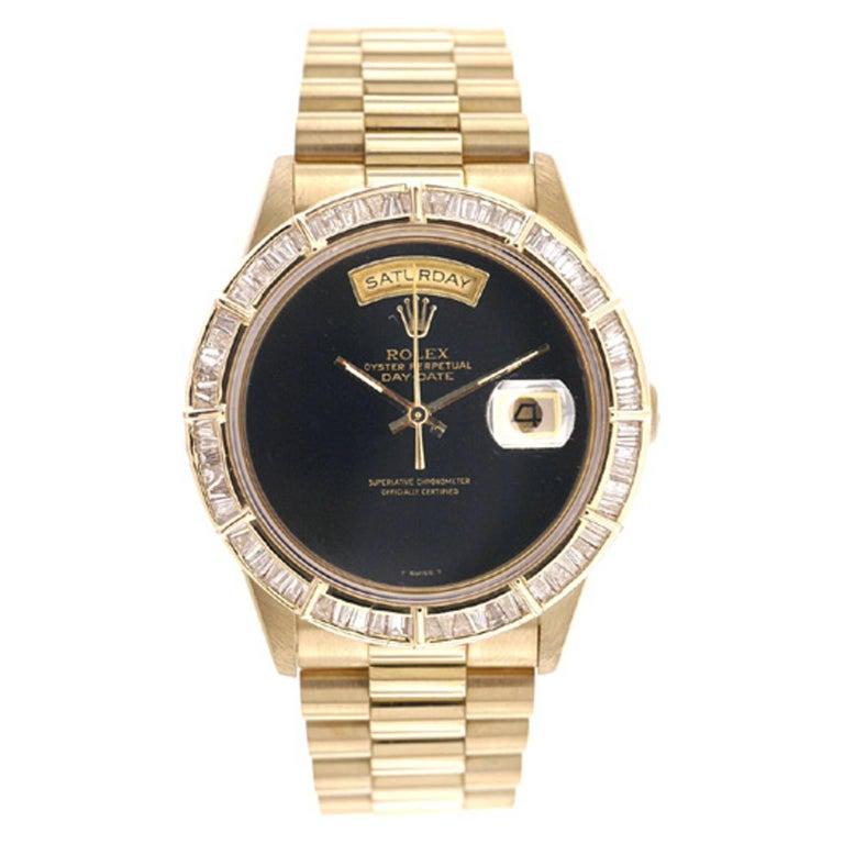 Rolex yellow gold President Day-Date Custom Onyx Dial Wristwatch