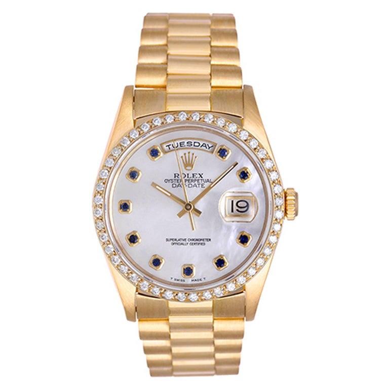 Rolex yellow gold President Day-Date Factory Bezel Automatic wristwatch