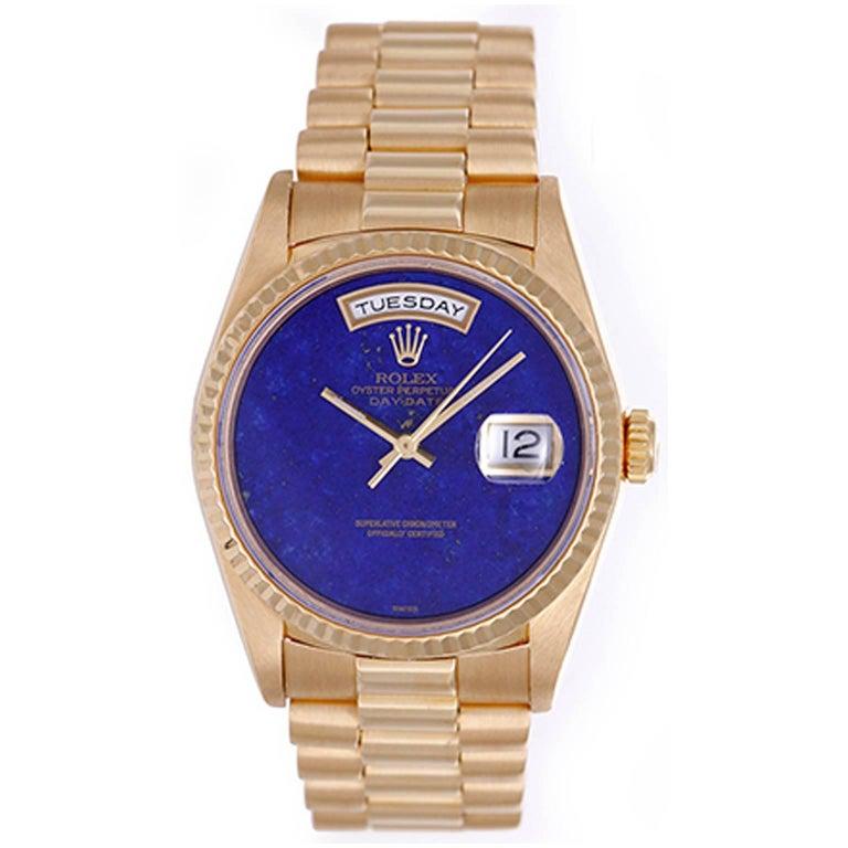 Rolex yellow gold President Day-Date Custom Lapis Dial Wristwatch ref 18238