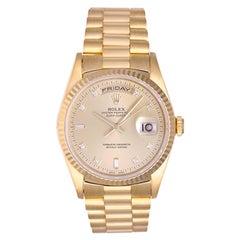 Rolex yellow gold President Day-Date Diamond Automatic Wristwatch ref 18238