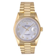 Rolex yellow gold President Day-Date Mother-of-Pearl Dial Automatic Wristwatch