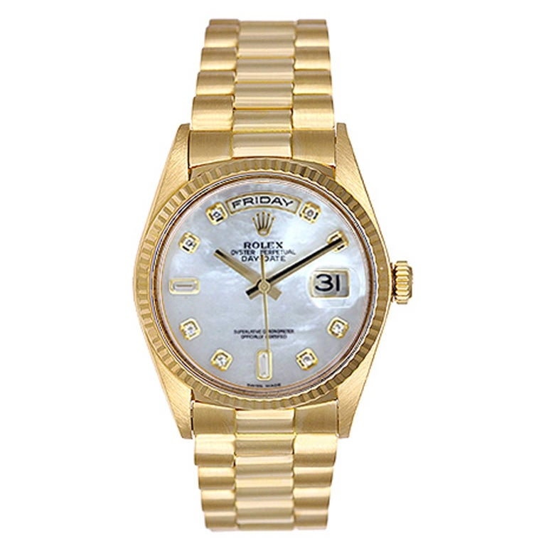 Rolex yellow gold President Day-Date automatic Wristwatch ref 18238