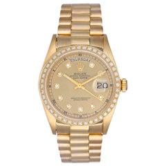 Rolex yellow gold Diamond Day-Date President Automatic Wristwatch