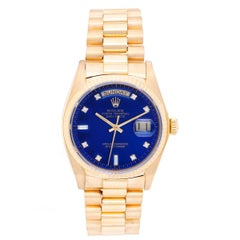Rolex yellow gold President Day-Date Blue Diamond Dial wristwatch ref 18038