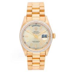 Rolex Yellow Gold Diamond President Day-Date Automatic Wristwatch Ref 18038