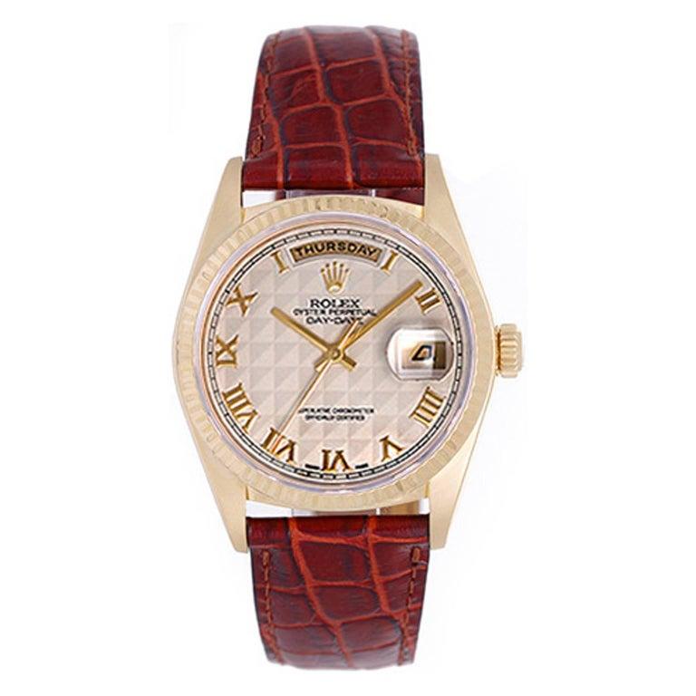 Rolex yellow gold Day-Date President Wristwatch ref 18038
