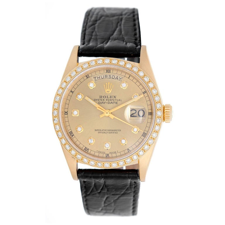 Rolex yellow gold Diamond Dial Day-Date President Automatic Wristwatch ref 18038