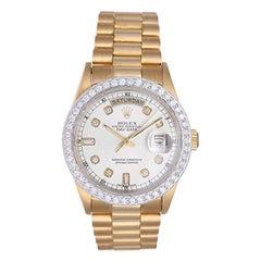 Rolex Yellow Gold President Diamond Bezel Day-Date Automatic Wristwatch Ref 1803