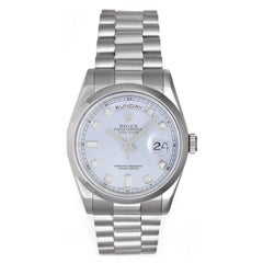 Rolex Platinum President Glacier Diamond Dial Day-Date Automatic Wristwatch
