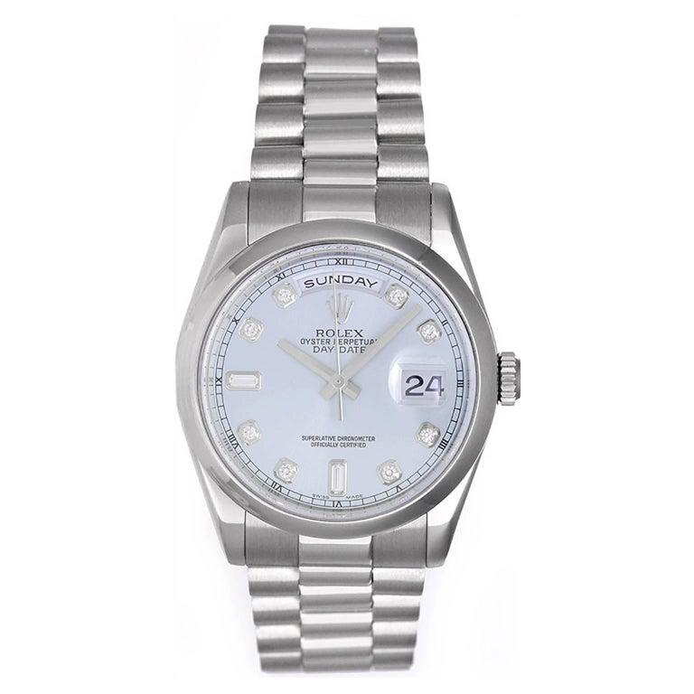 Rolex Platinum President Glacier Diamond Dial Day-Date Automatic Wristwatch