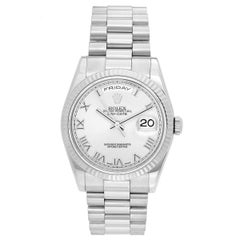 Rolex White Gold President Day-Date Rhodium Roman Dial Automatic Wristwatch
