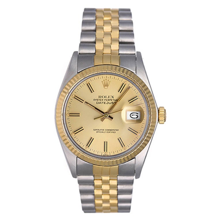 Rolex Yellow Gold Stainless Steel Datejust Automatic Wristwatch Ref 16013