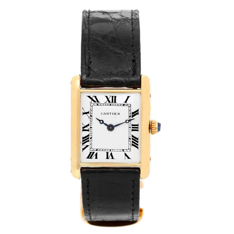 Cartier Ladies Yellow Gold Vintage Tank Manual Wristwatch For Sale