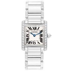 Cartier Ladies White Gold Diamond Tank Francaise Quartz Wristwatch Ref We1002s3