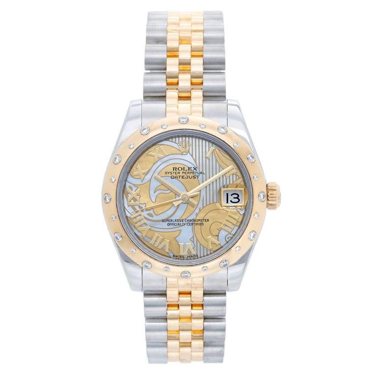 Rolex Datejust Yellow Gold Stainless Steel Diamond Dome Bezel Wristwatch