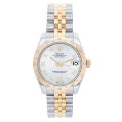 Rolex Yellow Gold Stainless Steel Diamond Datejust Dome Bezel Wristwatch