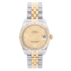 Rolex Yellow Gold Stainless Steel Diamond Datejust Dome Bezel Wristwatch