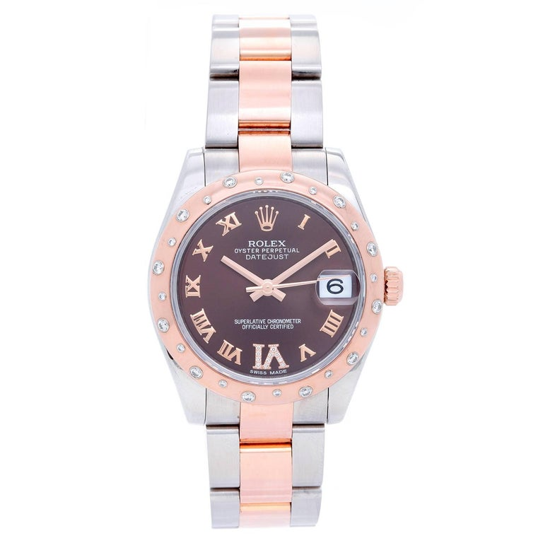 Rolex Ladies Rose Gold Everose Steel Diamond Datejust Automatic Wristwatch