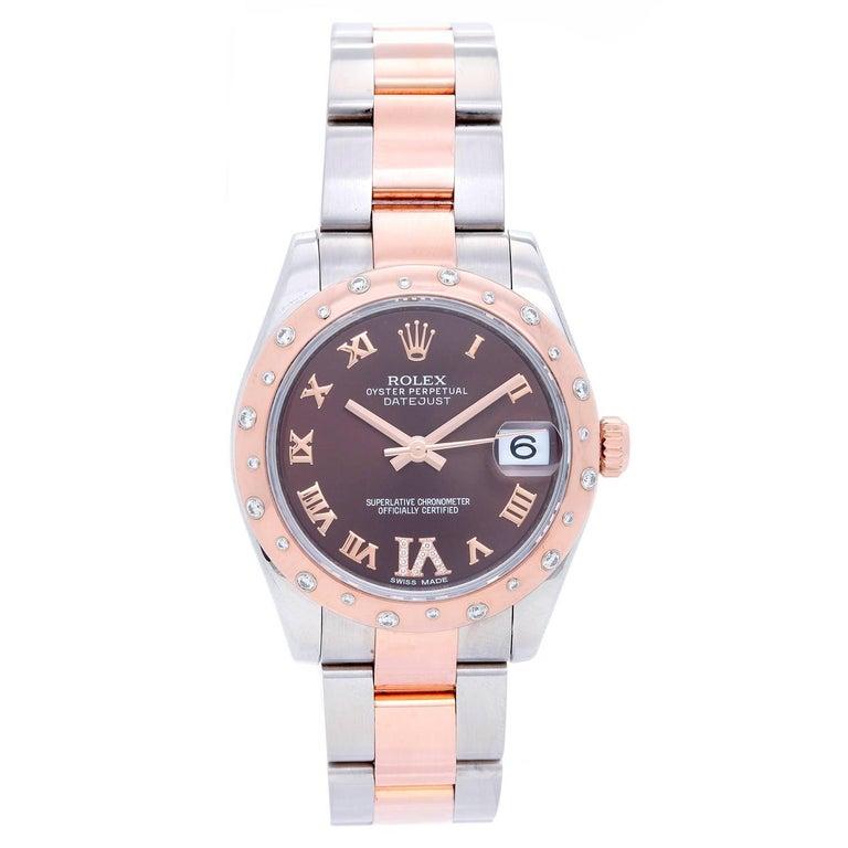 Rolex Ladies Rose Gold Everose Steel Diamond Datejust Automatic Wristwatch