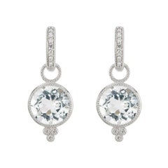 Jude Frances Provence Round White Topaz Earrings