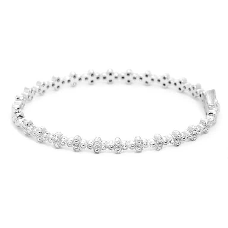 Jude Frances Provence Diamond Bangle - . Quad diamond bangle. Round diamonds bezel set in 18K white gold quads, .62 cts. This beautiful bangle can be used by itself or stacked with anything else.