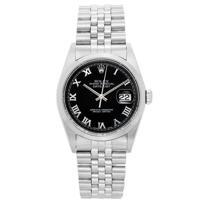 Rolex Stainless Steel Datejust Roman Numerals Automatic Wristwatch Ref 16200