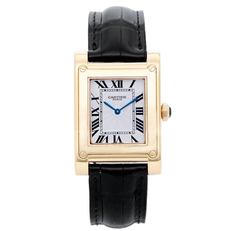 Cartier Yellow Gold Tank A Vis F Watch Privee Collection Manual Wristwatch For Sale