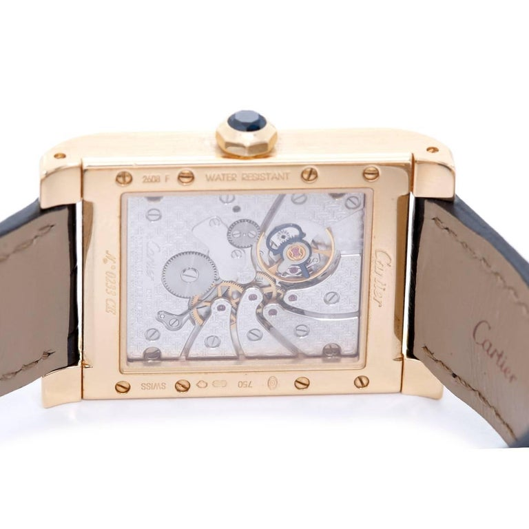 Women's or Men's Cartier Yellow Gold Tank A Vis F Watch Privee Collection Manual Wristwatch For Sale