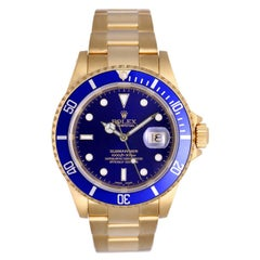 Rolex Yellow Gold Submariner Black Dial Automatic Wristwatch Ref 16618