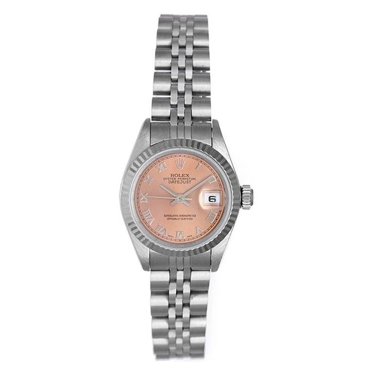 Rolex Ladies White Gold Stainless Steel Datejust Salmon Dial Wristwatch