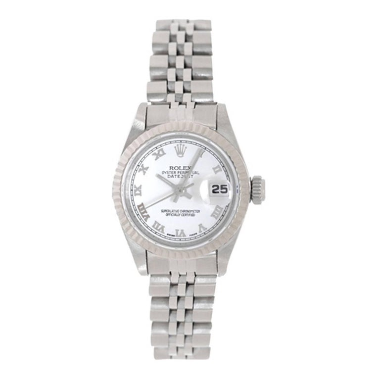 Rolex Ladies White Gold Stainless Steel Datejust White Dial Automatic Wristwatch