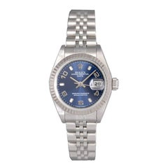 Rolex Ladies White Gold Stainless Steel Datejust Blue Dial Automatic Wristwatch