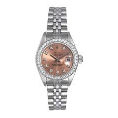 Rolex Ladies Stainless Steel White Gold Diamond Datejust Automatic Wristwatch