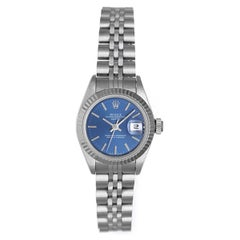 Rolex Ladies Stainless Steel Blue Dial Datejust automatic Wristwatch