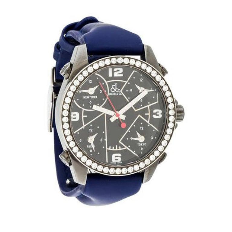 67529c17d0c539 Jacob   Co. Stainless Steel Diamond Five Time Zone Quartz Wristwatch Ref  A394 For Sale