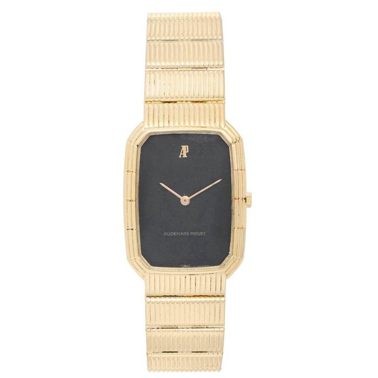 Audemars Piguet Yellow Gold Black dial Vintage Manual Wristwatch For Sale