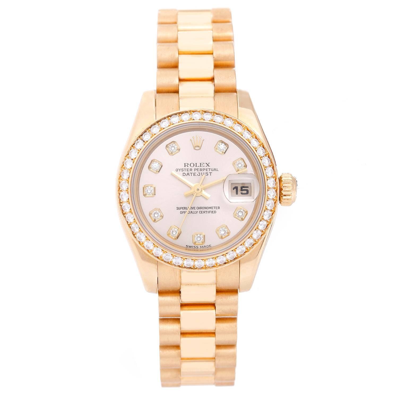 Rolex Ladies Yellow Gold Diamond President Automatic Wristwatch Ref 179138
