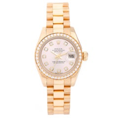 Rolex Ladies Yellow Gold Diamond President Automatic Wristwatch Ref 179138